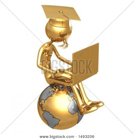 Golden Grad On Top Of The World With Laptop Online Education Graduation Concept