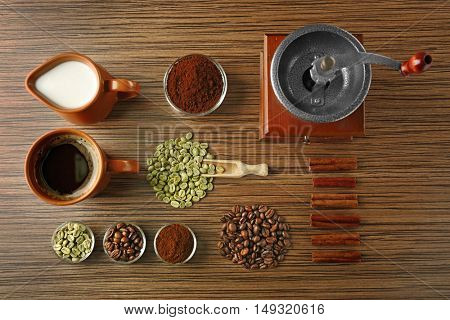 Coffee composition on wooden background
