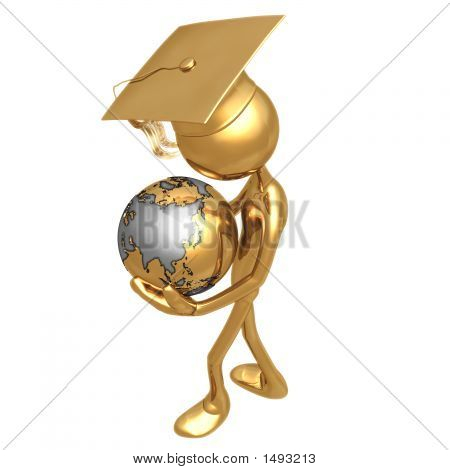 Golden Grad With World In Hands Graduation Concept