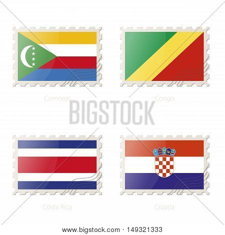 Postage Stamp With The Image Of Comoros, Congo, Costa Rica, Croatia Flag.