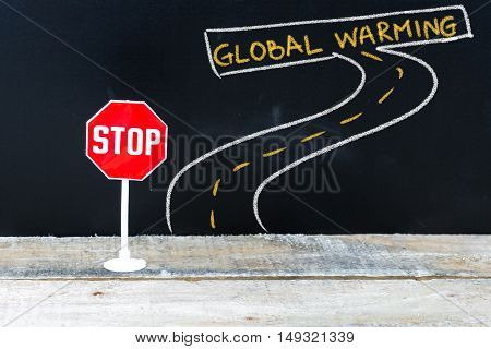Mini Stop Sign On The Road To Global Warming