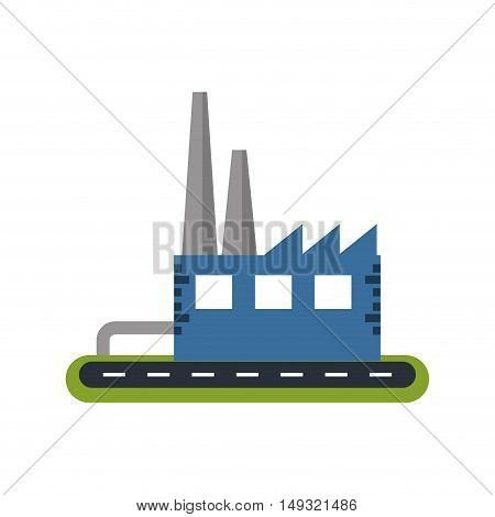Industry building icon. Factory plant and industrial theme. Isolated design. Vector illustration