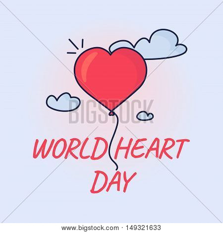 World heart day poster with a heart balloon in the sky on blue background. Medical concept. Vector illustration.