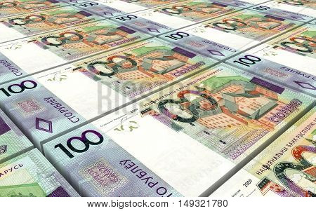 New Belarusian rubles bills stacks background. 3D illustration.