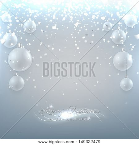 Christmas vector banner with glass balls. Elegant vector illustration with a congratulation. Happy New Year background with silver confetti and shining lights.