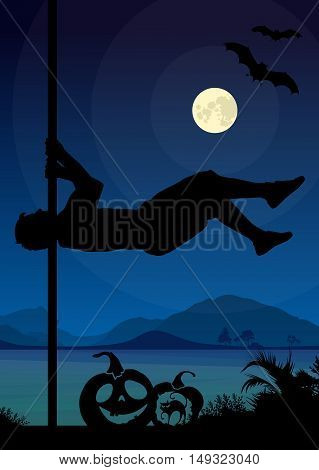 Halloween Style Silhouette of Pole Dancers. Black vector silhouette of male pole dancer performing pole moves in front of river and full moon at night .