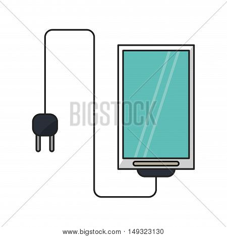 Smartphone with plug icon. Cellphone mobile digital and phone theme. Isolated design. Vector illustration