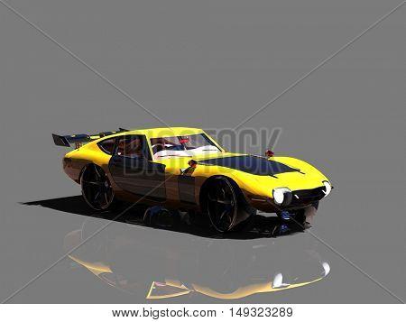 Super sport car on grey background, 3D illustration