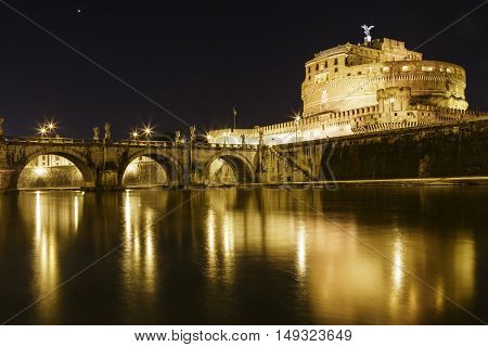 Sant' Angelo Bridge and Sant' Angelo Castel at night, Rome, Italy,