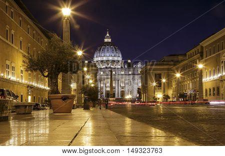 View of Basilica di San Pietro at night, Vatican, Rome, Italy