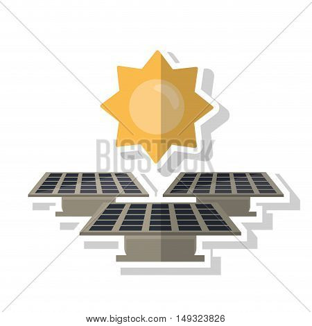 Solar panel with sun icon. Ecology renewable energy and conservation theme. Isolated design. Vector illustration