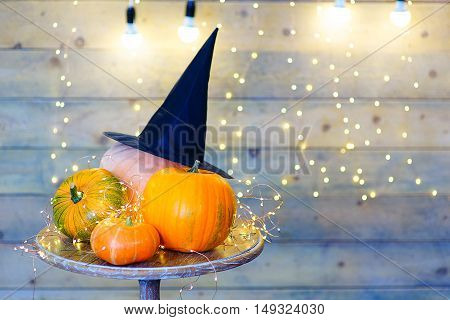 Pumpkins for Halloween on the table prepared to create some lantern