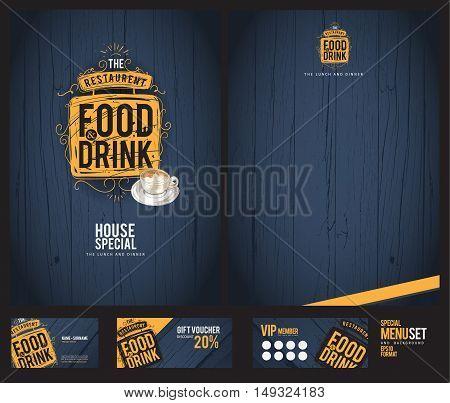 Creative menu design. Menu template and layout menu.Background wood.