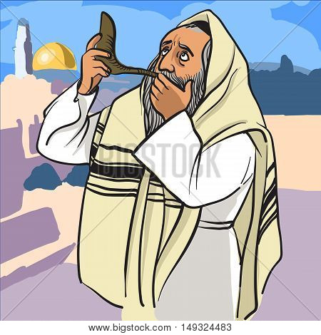 Rosh hashana card - Jewish New Year. Jewish man praying and blowing the shofar. vector illustration