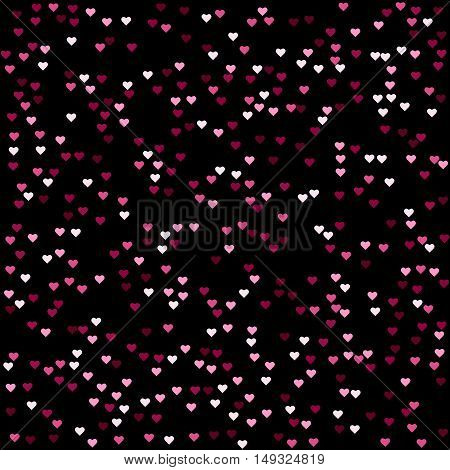 Seamless abstract pink heart pattern vector, on black background.