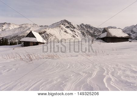 Mountain huts in the winter . The High Tatra Mountains.