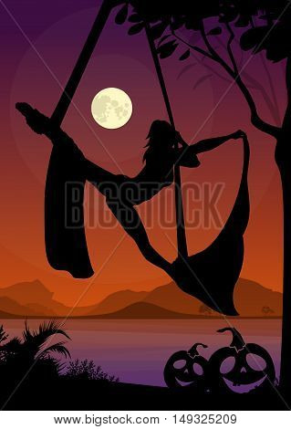 Halloween Style Silhouette of Air Silks Gymnast . Black vector silhouette of female aerial silks performer in front of river and full moon at night.
