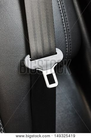 black seat belt close-up in new car