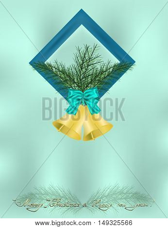 Christmas and happy new year background with blue frame bows jingle bells and some greeting words