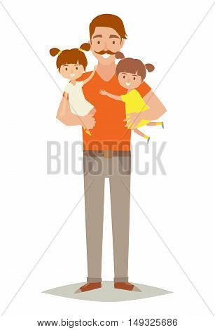 Single father with two young daughters. Happy family young group: little baby sisters and father. Father holding baby in arms. Cartoon character twins.Flat style vector illustration isolated on white