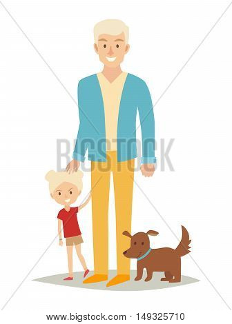 Single father with young daughter and dog. Happy family young group: little baby and father. Cartoon character people. Flat style vector illustration isolated on white background