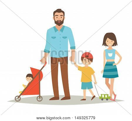 Single father with three young children. Happy family young group: sister brother baby in stroller and father. Cartoon character people. Flat style vector illustration isolated on white background