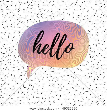 Hello speech bubble greeting card fashion poster. Vector hand lettering quote on abstract confetti seamless pattern background.