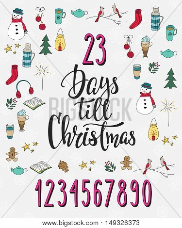 Merry Christmas Countdown Happy New Year simple lettering set. Calligraphy postcard or poster graphic design lettering element. Hand written postcard design. Photo overlay Days till Christmas