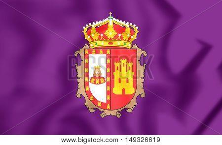 Flag Of Burgos Province, Spain. 3D Illustration.
