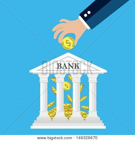 Hand putting golden coin into bank building. Depositing money in bank account concept. vector illustration in flat style