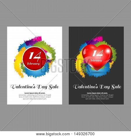 Valentine day banners with white and black background