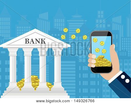 Hand holding mobile phone with gold coins inside and bank building. Mobile payment, mobile banking, money transfer. vector illustration in flat style and cityscape background