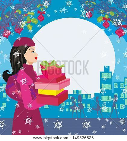 Christmas shopping on a snowy night , vector illustration