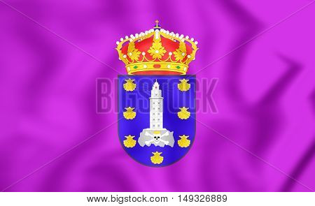 Flag Of La Coruna, Spain (galicia). 3D Illustration.