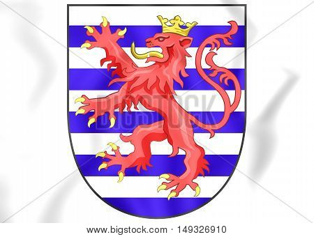 Luxembourg coat of arms. 3D Illustration. Close Up.