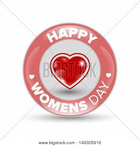 Happy Women day red shiny circle badge with heart