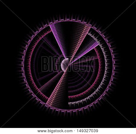Abstract fractal disk computer generated image on black