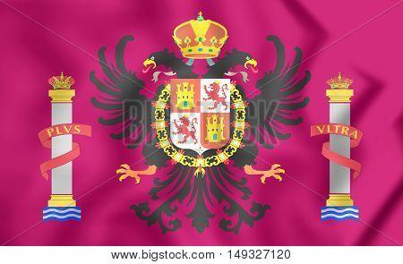 Flag Of Toledo Province, Spain. 3D Illustration.