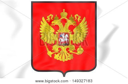 Russia Coat of Arms. 3D Illustration. Close Up.