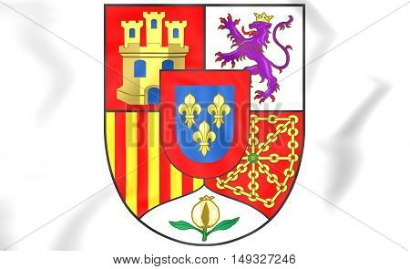 Spain Coat of Arms. 3D Illustration. Close Up.