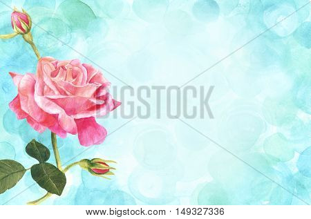A vintage style watercolor drawing of a tender pink rose branch on a teal blue background with copyspace. Business card or flyer horizontal design template