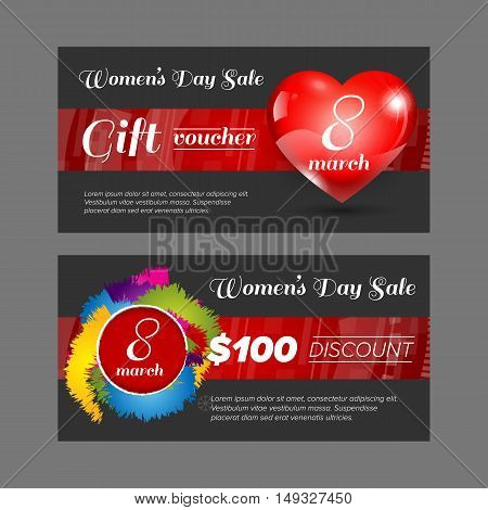 Gift voucher Women day discount double side with black background