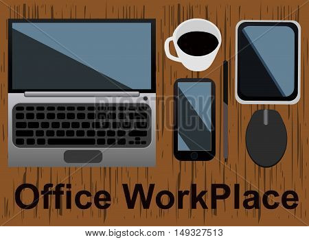 Office workplace concept design vector illustration art
