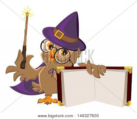 Owl bird in Halloween costume holding open book. Isolated on white vector cartoon illustration