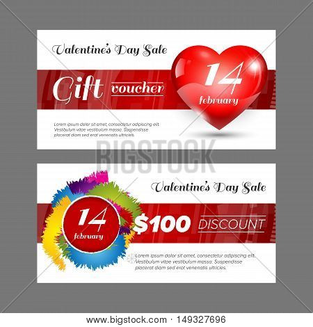 Gift voucher Valentine day discount double side with white background