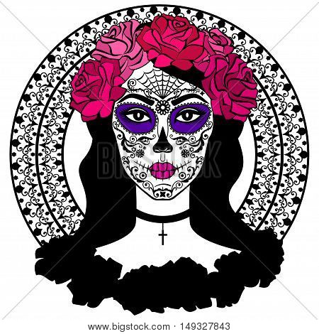 Girl with sugar skull makeup. Calavera Catrina. Mexican Day of the dead or halloween person. Dia de los Muertos. Vector