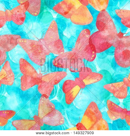 A seamless print with pink watercolor butterflies, hand painted on a teal blue background