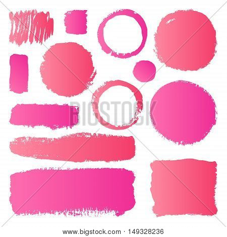 Hand drawn abstract make up paint brush strokes. Vector set collection of pink gradient smears paint isolated on white background.