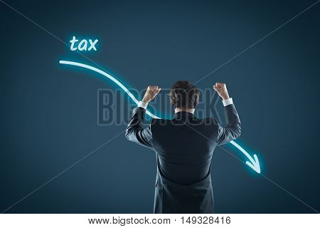 Tax optimization business concept - businessman celebrate reduced tax.
