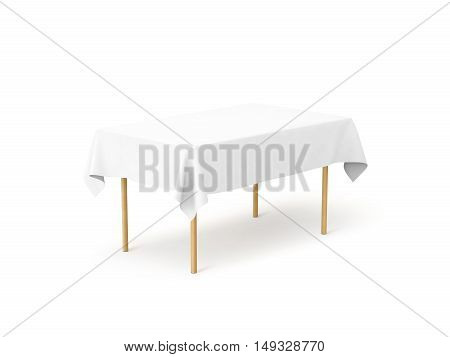 Bank white tablecloth mock up clipping path 3d rendering. Clear table cloth design mockup isolated. Fabric space satin on desk template. Kitchen wood table clean textile overlay. Setting cafe table.
